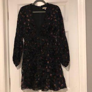 Black floral velvet dress